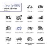 Special vehicles - line design icons set. Police car, fire engine, ambulance, aerial platform, tow, snowplow, sprinkler, wrecker, dump, line marking truck taxi royalty free illustration