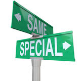 Special Vs Same Two Way Road Street Signs Choose Be Unique. Special versus Same words on green two way road or street signs to illustrate the difference of being Stock Image
