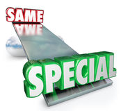 Special Vs Same Words See Saw Balance Unique Different Royalty Free Stock Photos