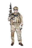 Special warfare operator. Bearded special warfare operator with assault rifle Royalty Free Stock Photo