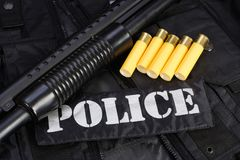 Special weapons and tactics team equipment. On black background Stock Photo