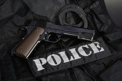 Special weapons and tactics team equipment. On black background Royalty Free Stock Image