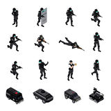 Special Weapons Unit Isometric Icons Collection. Swat special weapons and tactics law enforcement units ammunition and military equipment isometric icons Stock Photo
