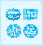 Special winter offer banner - text in blue and white drawn label with snowflake symbol, business seasonal shopping Royalty Free Stock Photos