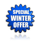 Special winter offer in 3d blue star banner. With white text, business seasonal concept Stock Photography