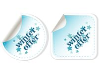 Special winter offer vector stickers Stock Photo