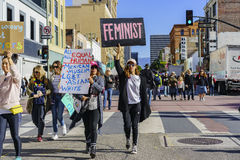Special Women March event and Protesters around Los Angeles Royalty Free Stock Photography