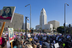 Special Women March event and Protesters around Los Angeles Royalty Free Stock Photo