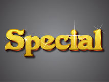 Special Write in Gold 3D Font. Style Created in Illustration. Shining gold and embossed Royalty Free Stock Image