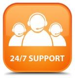 24/7 speciala apelsinfyrkant för service (symbol för kundomsorglag) men Royaltyfri Fotografi