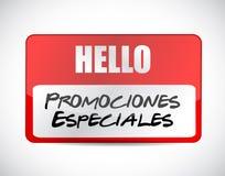 speciala befordringar i tecken för spanjornamnetikett stock illustrationer