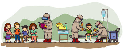 Speciala läkare undersöker gruppen av barn Arkivfoton