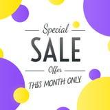 Speciala Sale överskriftdesign för baner eller affisch Sale och disko Royaltyfria Bilder