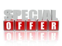 Speciale aanbieding - brieven en kubussen stock illustratie