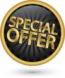 Speciale aanbieding gouden etiket, vectorillustratie Stock Fotografie