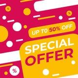 Speciale aanbieding vectorlay-out voor banner, dekking, vlieger, brochure of sticker Ontworpen voor Web en drukken stock illustratie