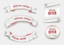 Speciale aanbiedinglint Rode rol De markering van de bannerverkoop De korting van de marktspeciale aanbieding Royalty-vrije Stock Afbeelding
