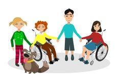 Speciale behoeftenkinderen met vrienden Stock Fotografie