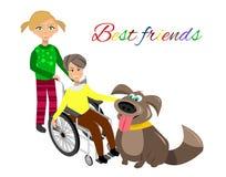 Speciale behoeftenkinderen met vrienden Stock Foto's