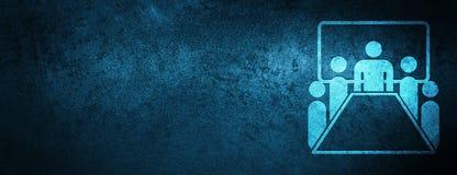 Speciale blauwe de bannerachtergrond van het vergaderzaalpictogram royalty-vrije illustratie