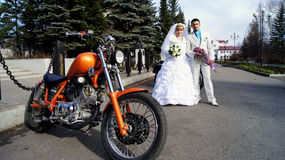 Motociclista (cerimonia di nozze) Fotografia Stock