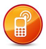 Speciale glazige oranje ronde knoop van het Cellphone de bellende pictogram stock illustratie