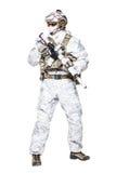 Speciale krachtenexploitant in de kleren van de wintercamo stock foto's
