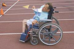 Speciale Olympics atleet in rolstoel, Stock Fotografie