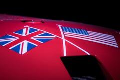 Speciale verhouding De vlaggen van Verenigde Staten en van het Verenigd Koninkrijk A stock fotografie