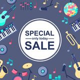 Speciale verkoopaffiche met muzikale instrumenten op grijze blauwe achtergrond Backgroud voor verschillende ontwerpen: kaart, stock illustratie