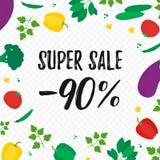 Speciale verkoopaffiche met organische groenten royalty-vrije illustratie