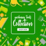 Speciale verkoopaffiche met tuinhulpmiddelen op groene achtergrond Het tuinieren instrumenteninzameling met knoopwinkel nu stock illustratie