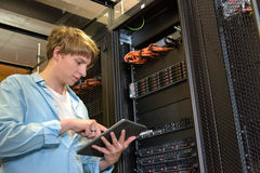 IT specialist configuring servers Royalty Free Stock Photography