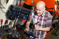 Specialist fixing heel taps. Smiling senior specialist fixing heel taps of shoes on machine Stock Images