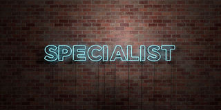 SPECIALIST - fluorescent Neon tube Sign on brickwork - Front view - 3D rendered royalty free stock picture Stock Photography