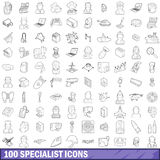100 specialist icons set, outline style. 100 specialist icons set in outline style for any design vector illustration Royalty Free Stock Photography