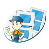 Specialist in the installation of windows and doors vector illustration