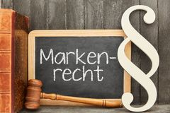 Specialist lawyer for trademark law with trademark protection co. German word Markenrecht trademark law as concept on a blackboard royalty free stock images