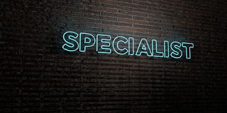 SPECIALIST -Realistic Neon Sign on Brick Wall background - 3D rendered royalty free stock image Royalty Free Stock Image