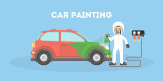 Specialist spray painting auto body at car. Flat style vector illustration. Royalty Free Stock Images