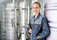 Specialist at a water factory. With equipment on the background royalty free stock images