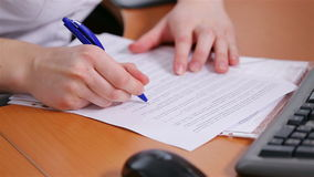 Specialist works with documents. stock video