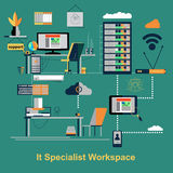 It specialist workspace scene. Vector illustration Royalty Free Stock Photography