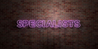 SPECIALISTEN - fluorescent T.L.-buisteken op metselwerk - vooraanzicht - 3D teruggegeven royalty vrij voorraadbeeld stock illustratie