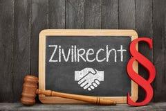 Specialistenadvocaat voor het burgerlijk rechtconcept van Zivilrecht met paragr stock foto's