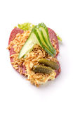 Specialità danesi e piatti nazionali, panino aperto di alta qualità Fotografie Stock