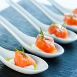 Specialità gastronomiche del salmone affumicato. Immagine Stock