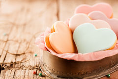 Speciality heart shaped fondant biscuits Royalty Free Stock Photos