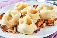 Speciality regional Turkish manti pasta stock photos