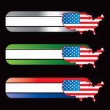 Specialized banners with american icon flag. United states flag icon on specialized banners Stock Image
